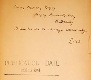 The Real Life of Sebastian Knight, 1941, inscription